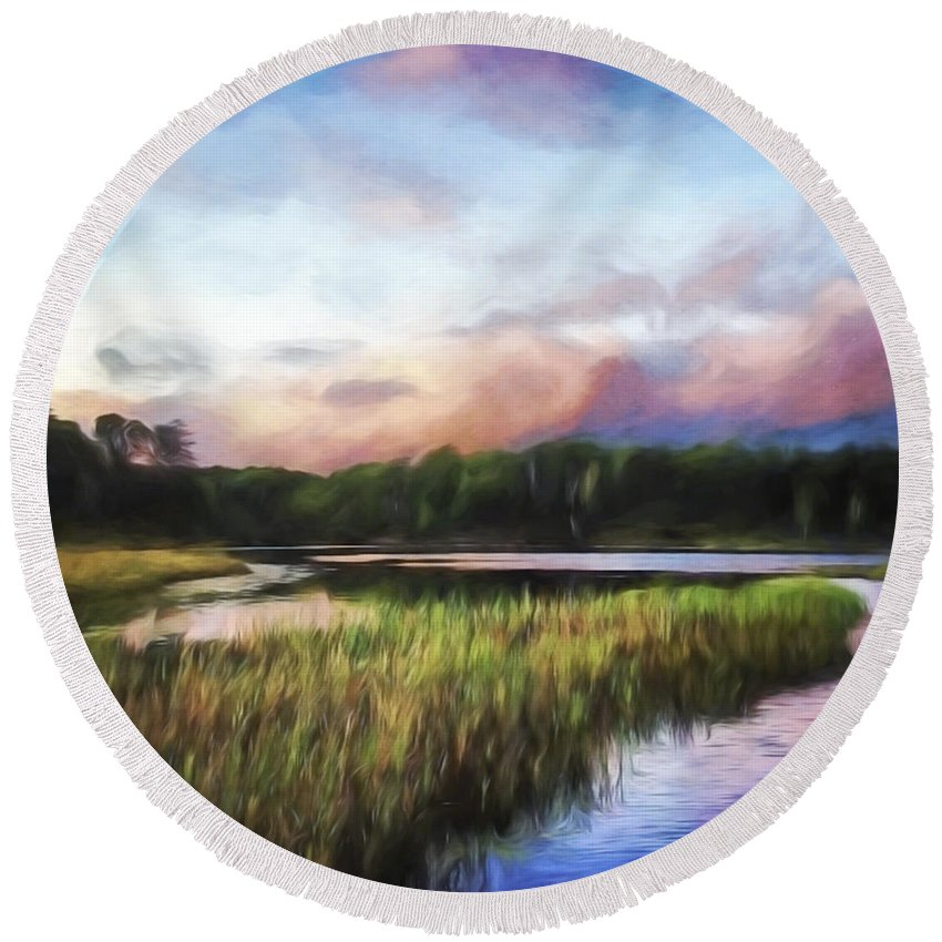 End Of Day Round Beach Towel featuring the painting End Of The Day - Landscape Art by Jordan Blackstone