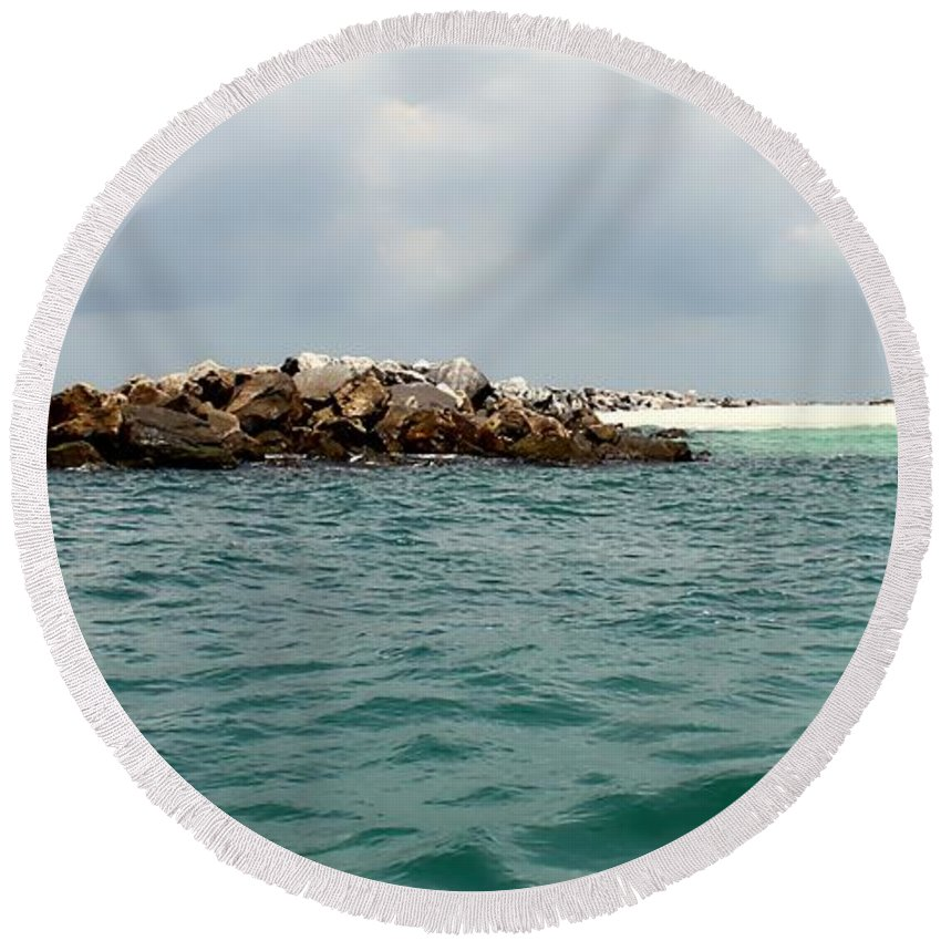 Florida Round Beach Towel featuring the photograph End Of The Jetty by Debra Forand