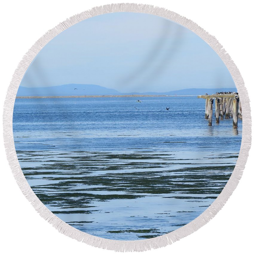 Washington Round Beach Towel featuring the photograph End Of The World In Blue by LeLa Becker