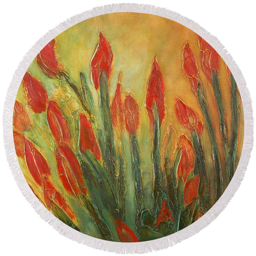Flower Round Beach Towel featuring the painting Endangered Species by Tonya Henderson