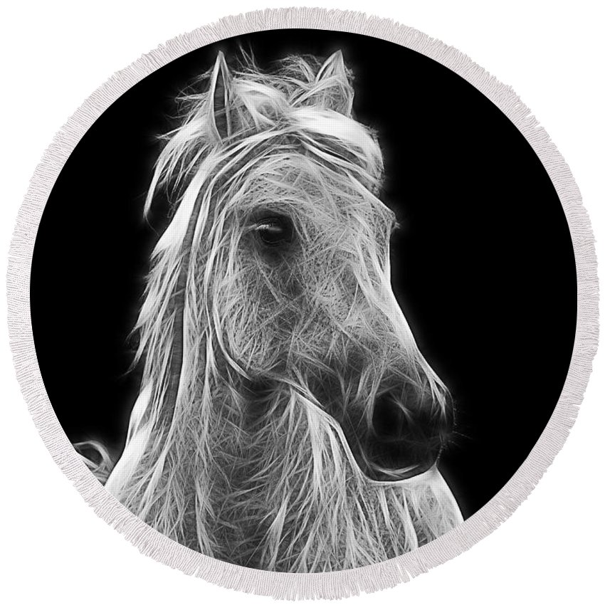 Horse Round Beach Towel featuring the photograph Energetic White Horse by Joachim G Pinkawa