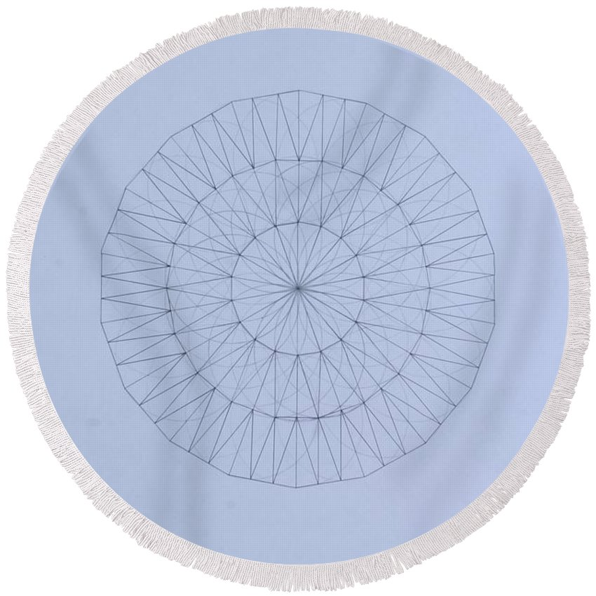 Jason Padgett Round Beach Towel featuring the drawing Energy Wave 20 Degree Frequency by Jason Padgett