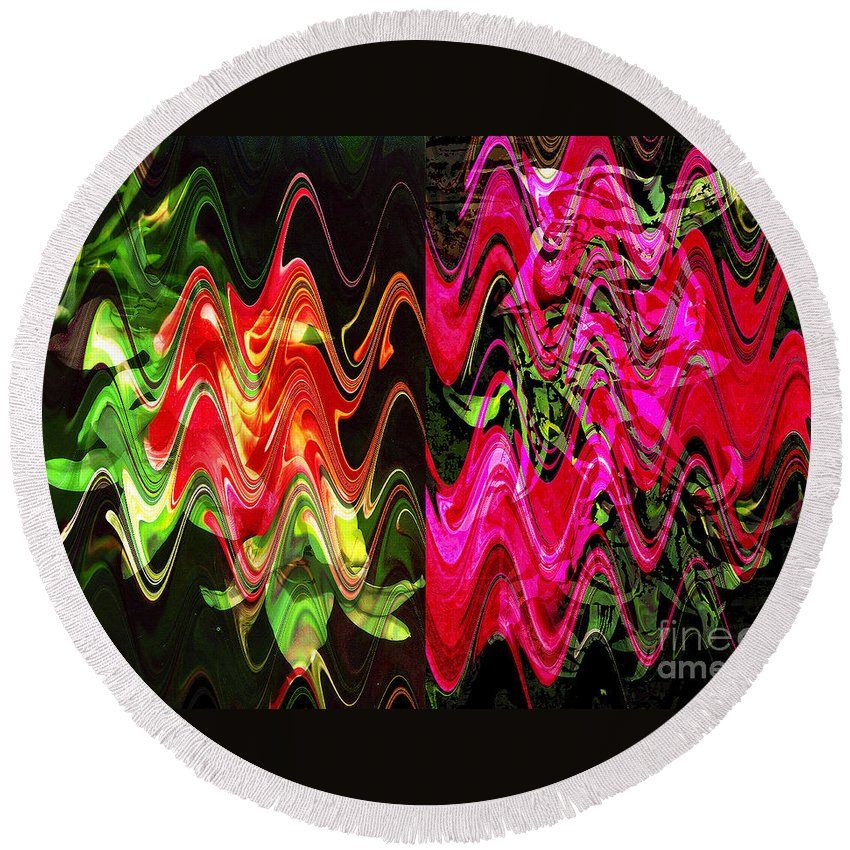 Abstract Round Beach Towel featuring the digital art Energy by Yael VanGruber
