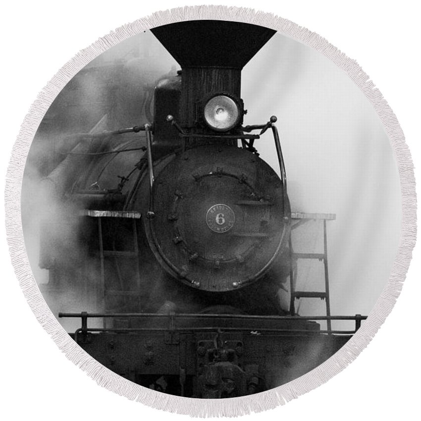 Antiquated Round Beach Towel featuring the photograph Engine No. 6 by Jerry Fornarotto