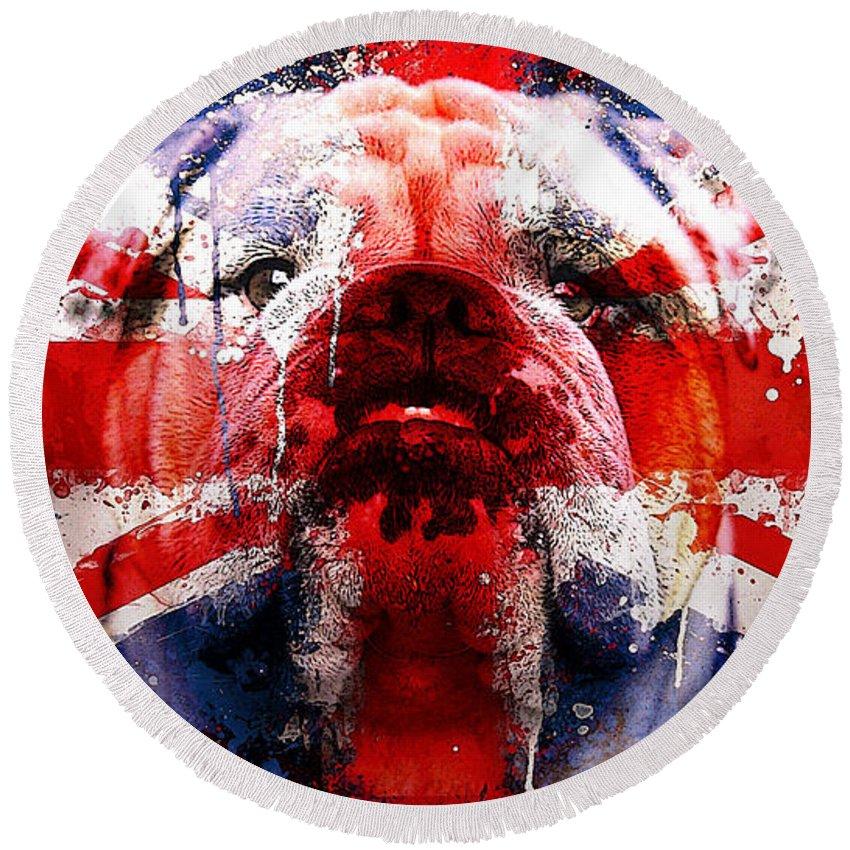 English Bulldog Prints Round Beach Towel featuring the mixed media English Bull Dog by Marvin Blaine