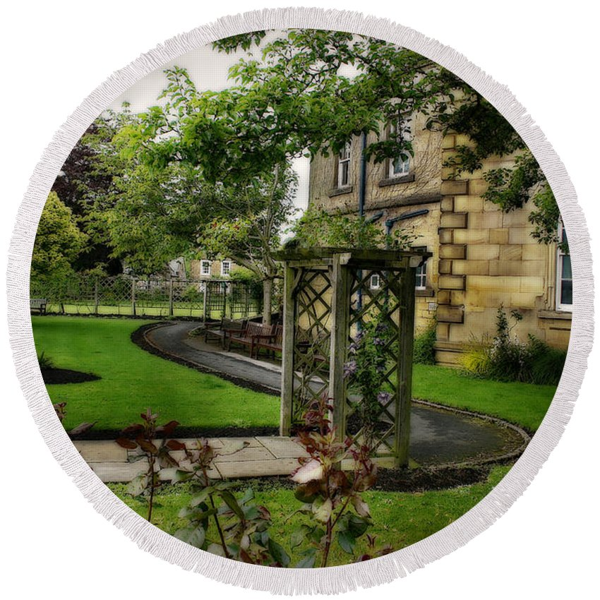 Garden Round Beach Towel featuring the photograph English Country Garden And Mansion - Series IIi. by Doc Braham