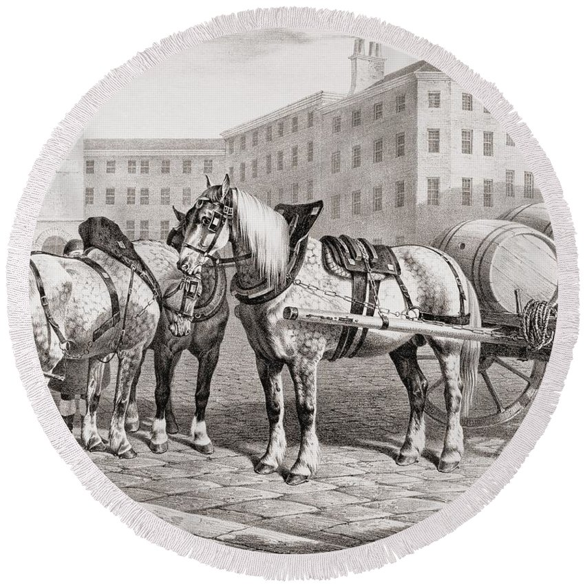 English Round Beach Towel featuring the drawing English Farm Horses, 1823 by French School