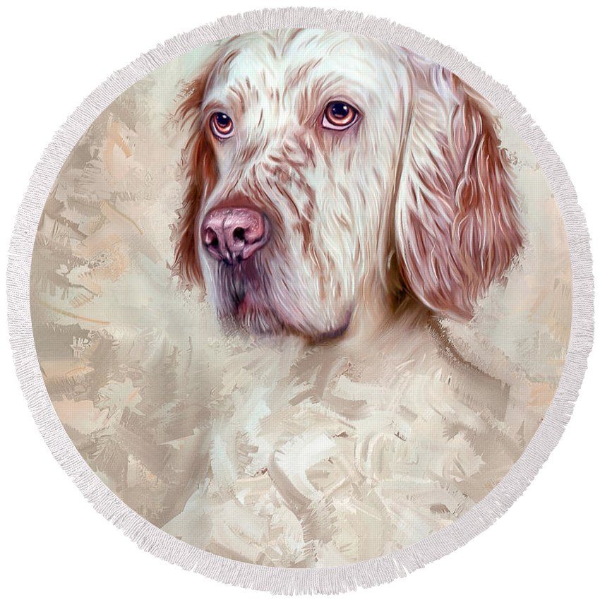 English Setter Round Beach Towel featuring the painting English Setter by Linton Hart