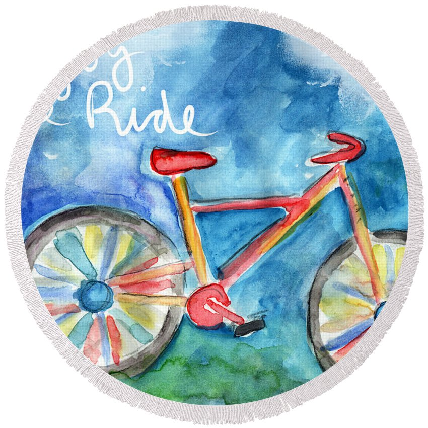 Bike Round Beach Towel featuring the painting Enjoy The Ride- Colorful Bike Painting by Linda Woods