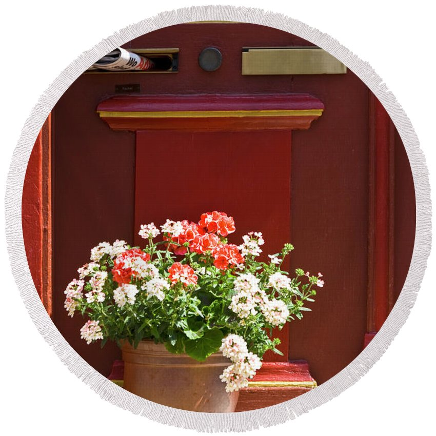 Round Beach Towel featuring the photograph Entrance Door With Flowers by Heiko Koehrer-Wagner
