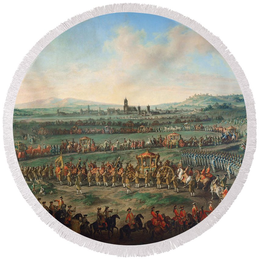 Johann Dallinger Von Dalling Round Beach Towel featuring the painting Entrance Of The Emperor Franz I Stephan And His Son Joseph II Into Frankfurt by Johann Dallinger Von Dalling