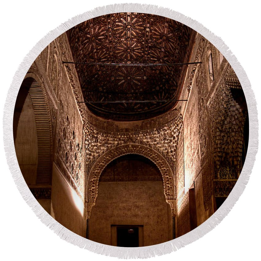 Alhambra Round Beach Towel featuring the photograph Entrance To The Ambassadors Hall In The Alhambra by Weston Westmoreland