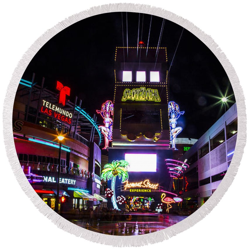 Las Vegas Round Beach Towel featuring the photograph Entrance To The Experience by Angus Hooper Iii