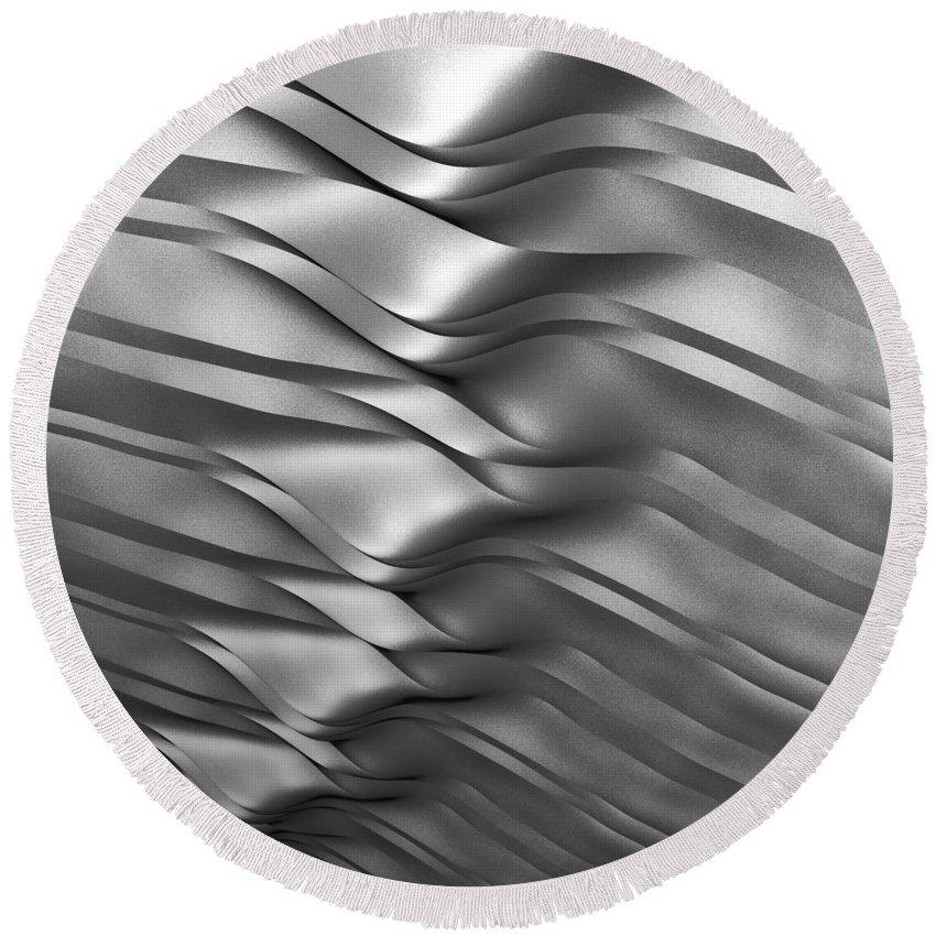 Eolian Round Beach Towel featuring the digital art Eolian Silver by Kiki Art