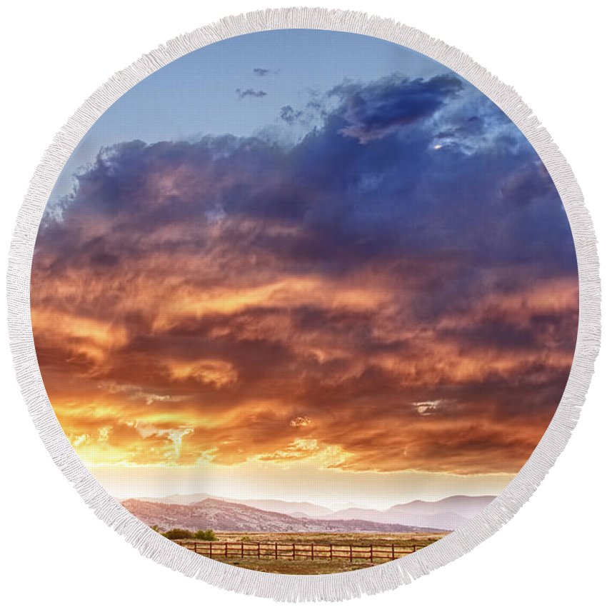 Country Round Beach Towel featuring the photograph Epic Colorado Country Sunset Landscape by James BO Insogna