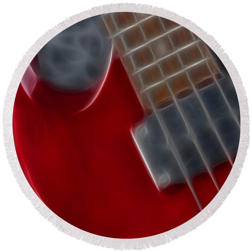 Guitar Round Beach Towel featuring the photograph Epiphone Sg Bass-9222-fractal by Gary Gingrich Galleries