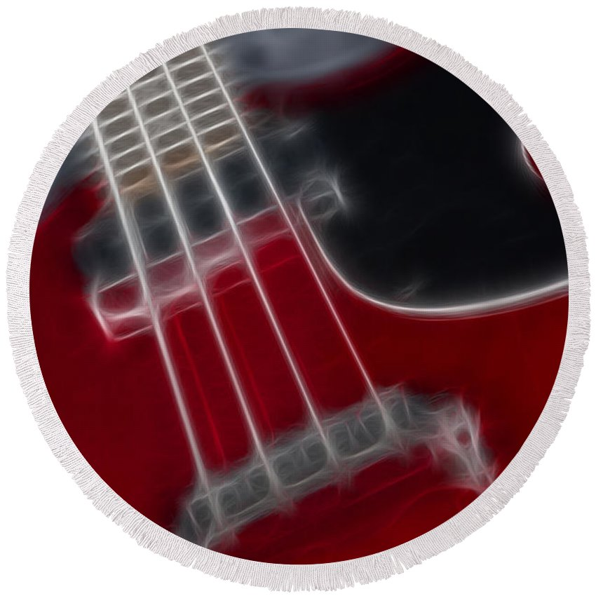 Guitar Round Beach Towel featuring the photograph Epiphone Sg Bass-9241-fractal by Gary Gingrich Galleries