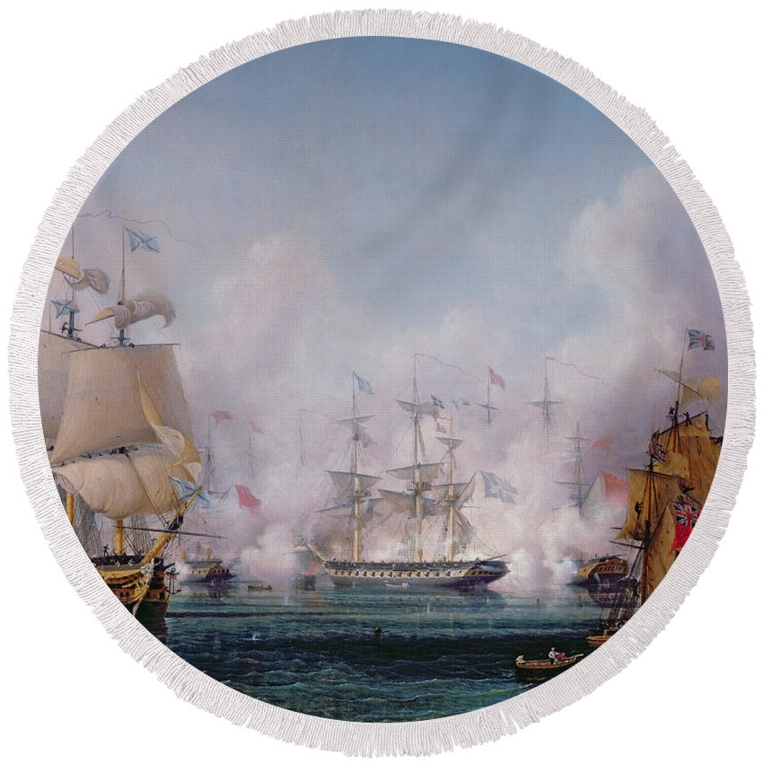 Boat Round Beach Towel featuring the painting Episode Of The Battle Of Navarino by Ambroise-Louis Garneray