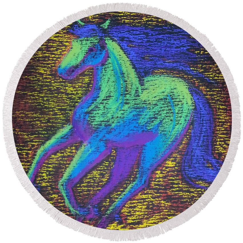 Horse Running Colors Animals Nature Energy Round Beach Towel featuring the pastel Equus by Brenda Salamone