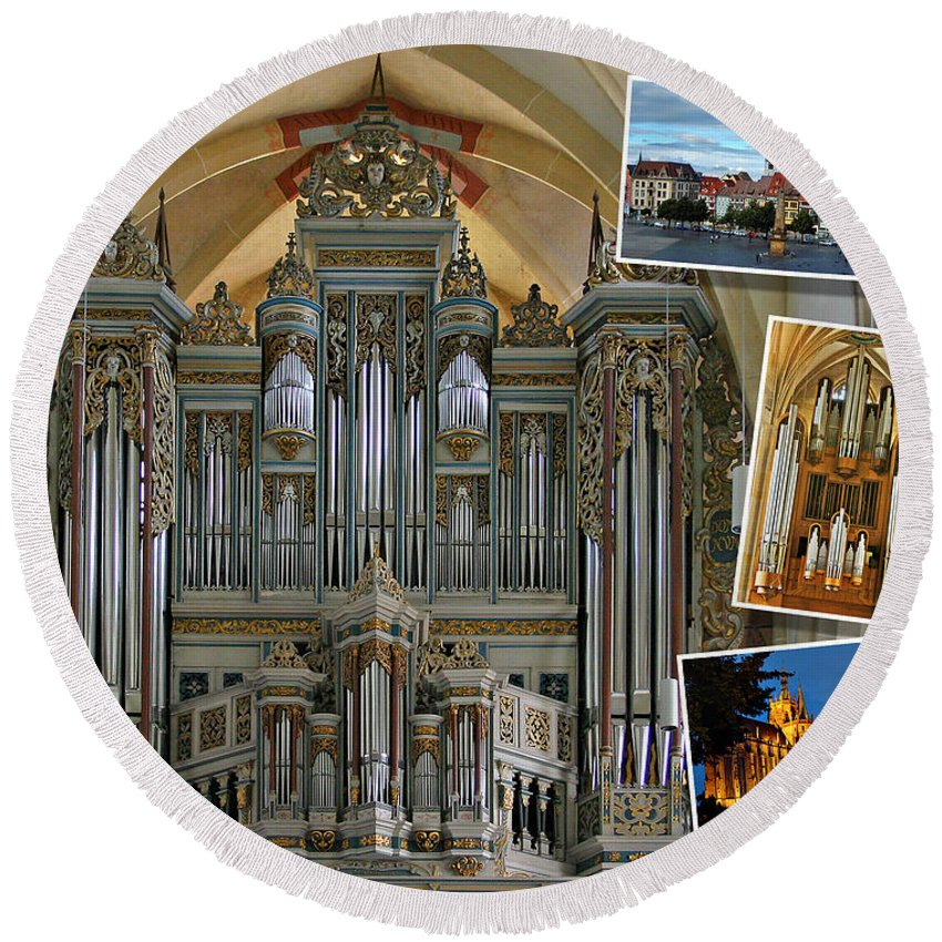 Erfurt Round Beach Towel featuring the photograph Erfurt Organ Montage by Jenny Setchell