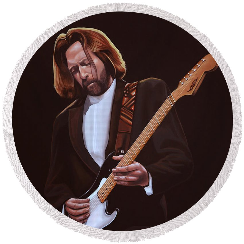 Eric Clapton Round Beach Towel featuring the painting Eric Clapton Painting by Paul Meijering
