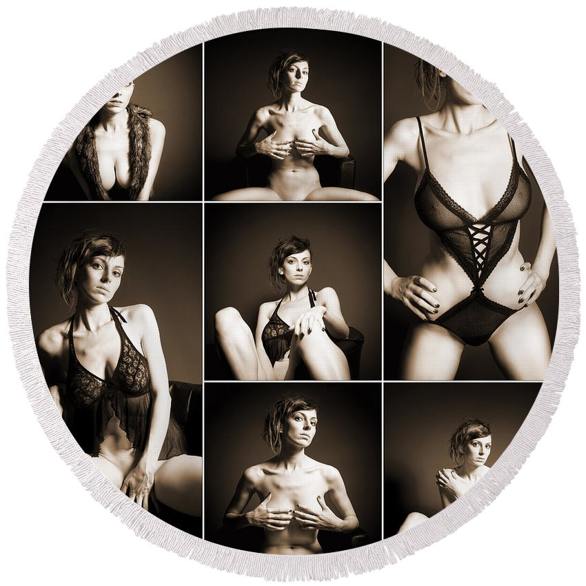Woman Round Beach Towel featuring the photograph Erotic Beauty Collage 14 by Jochen Schoenfeld