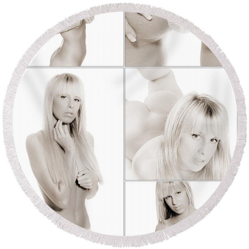 Woman Round Beach Towel featuring the photograph Erotic Beauty Collage 18 by Jochen Schoenfeld