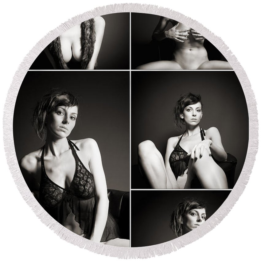 Woman Round Beach Towel featuring the photograph Erotic Beauty Collage 24 by Jochen Schoenfeld
