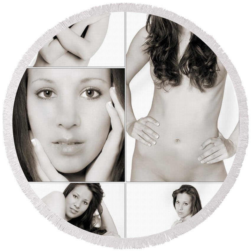Woman Round Beach Towel featuring the photograph Erotic Beauty Collage 28 by Jochen Schoenfeld