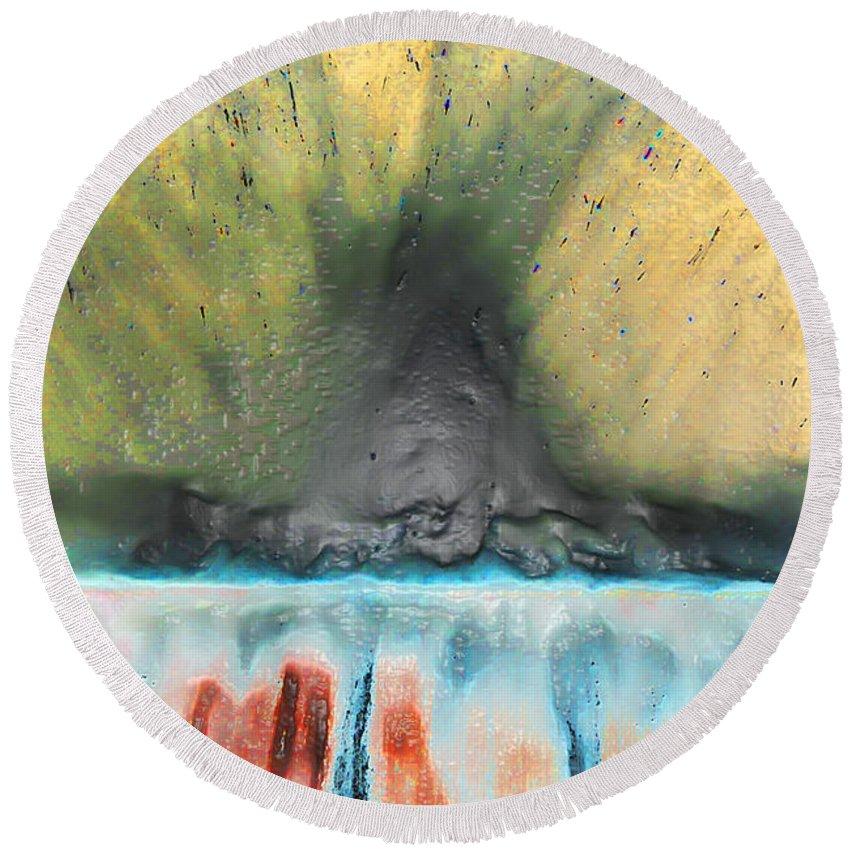 Volcano Round Beach Towel featuring the photograph Eruption 1 by Susan Cliett