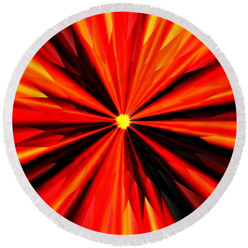 Eruption Round Beach Towel featuring the digital art Eruption In Red by Eric Nagel