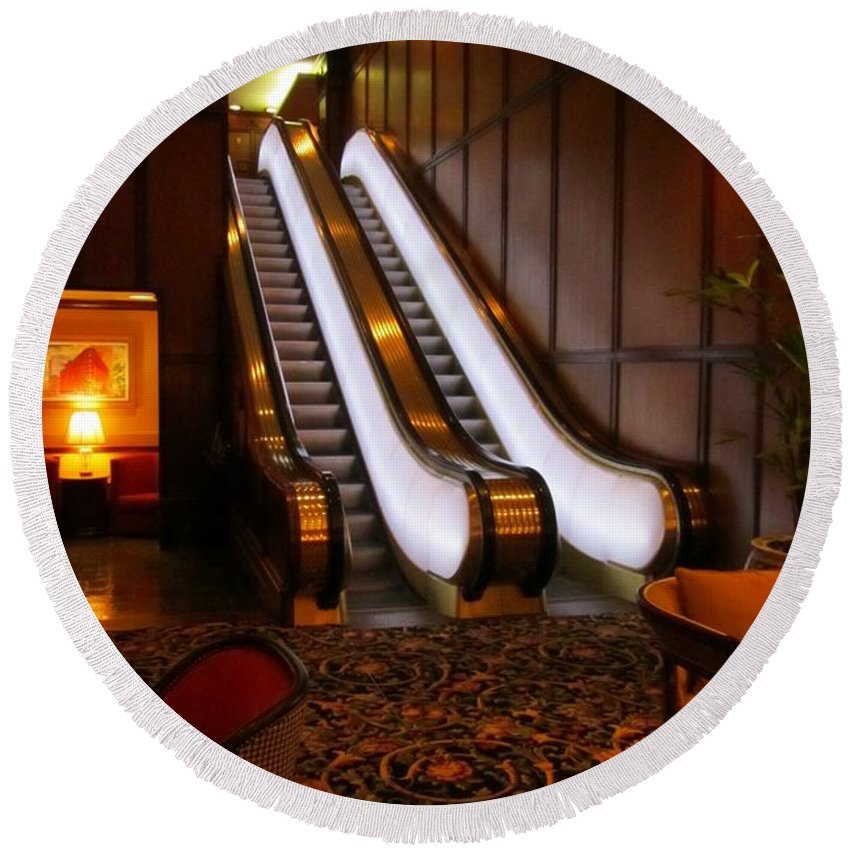 Escalator Art Round Beach Towel featuring the photograph Escalator In The Brown Palace by John Malone