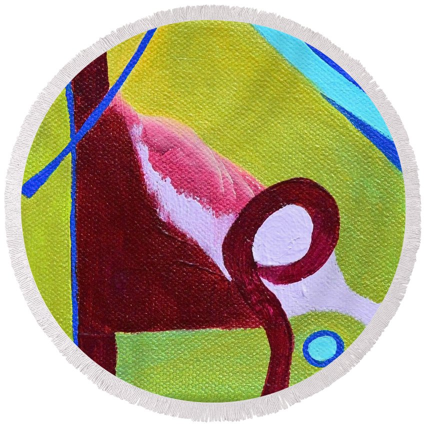 Modern Round Beach Towel featuring the painting Escaping Tradition by Donna Blackhall