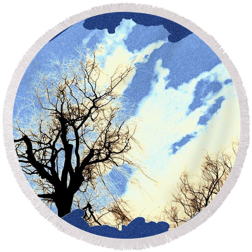 Essence Of Winter Round Beach Towel featuring the digital art Essence Of Winter by Will Borden