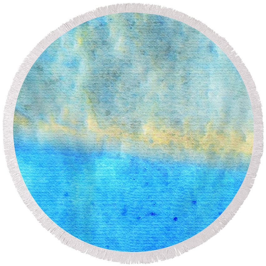 Water Round Beach Towel featuring the painting Eternal Blue - Blue Abstract Art By Sharon Cummings by Sharon Cummings
