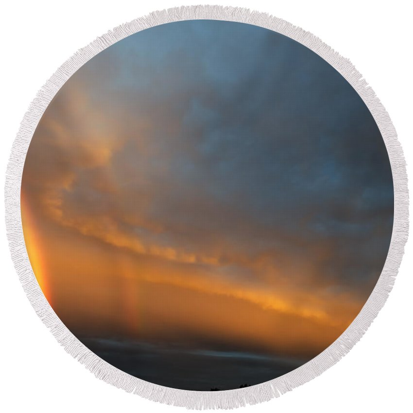 Rainbow Round Beach Towel featuring the photograph Ethereal Clouds And Rainbow by Greg Reed