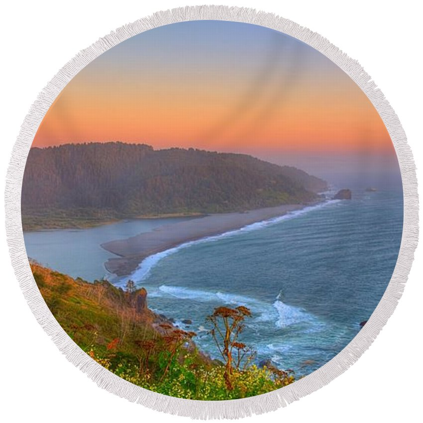 Klamath Round Beach Towel featuring the photograph Ethereal Sunset by James Anderson
