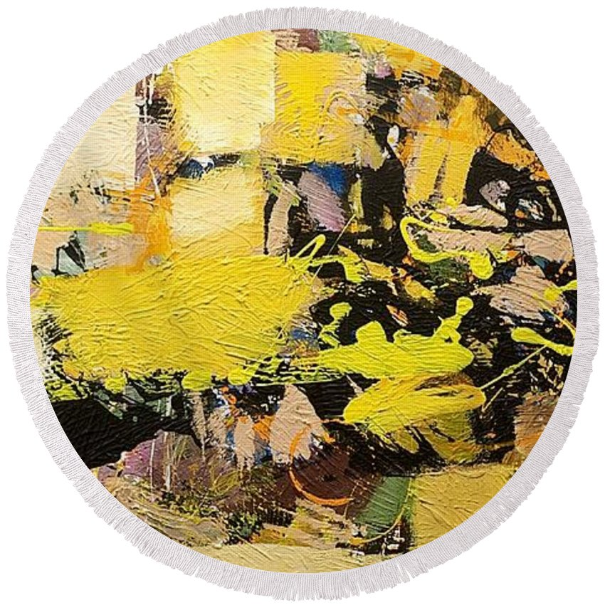 Landscape Round Beach Towel featuring the painting Euclid by Allan P Friedlander