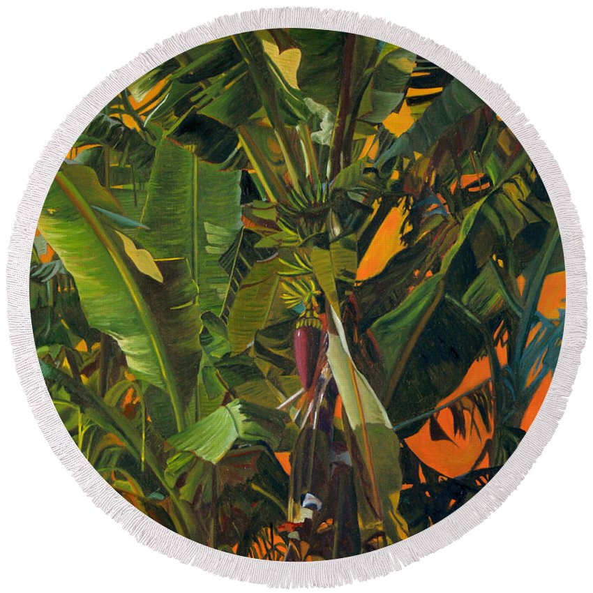 Banana Tree Round Beach Towel featuring the painting Eugene And Evans' Banana Tree by Thu Nguyen