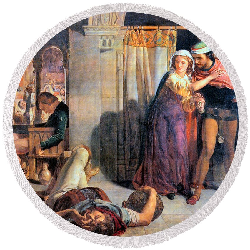 Eve Of Saint Agnes The Flight Of Madelein The Drunkenness Attending The Revelry Round Beach Towel featuring the digital art Eve Of Saint Agnes The Flight Of Madelein The Drunkenness Attending The Revelry by William Holman Hunt