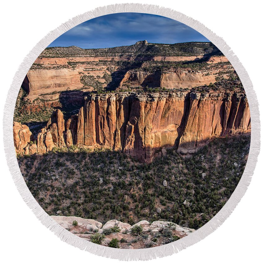 Colorado National Monument Round Beach Towel featuring the photograph Evening At Colorado National Monument by Greg Nyquist