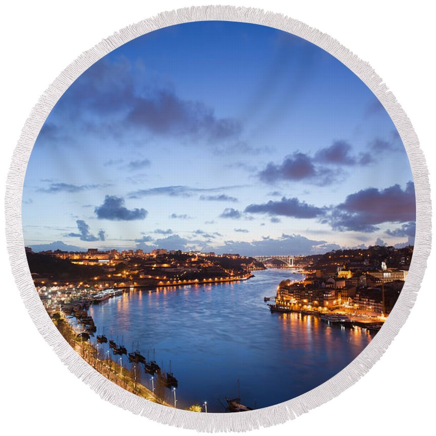 Porto Round Beach Towel featuring the photograph Evening At Douro River In Portugal by Artur Bogacki