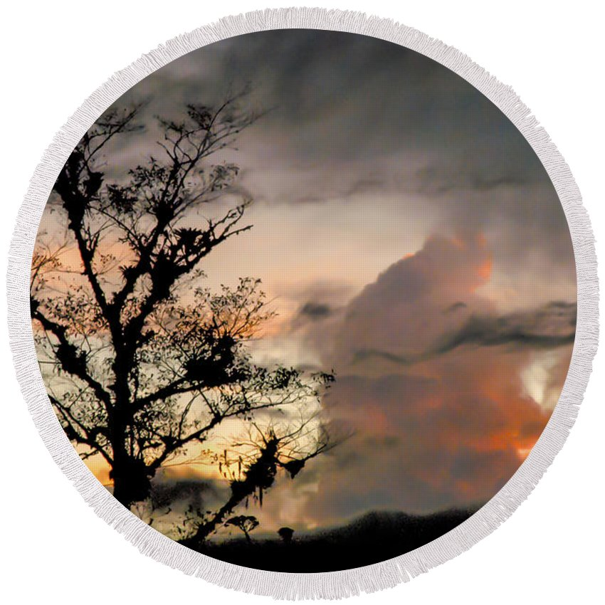 Poas Volcano Region Costa Rica Cloud Clouds Tree Trees Sunset Sunsets Landscape Landscapes Silhouette Silhouettes Round Beach Towel featuring the photograph Evening Break In Rain Clouds by Bob Phillips
