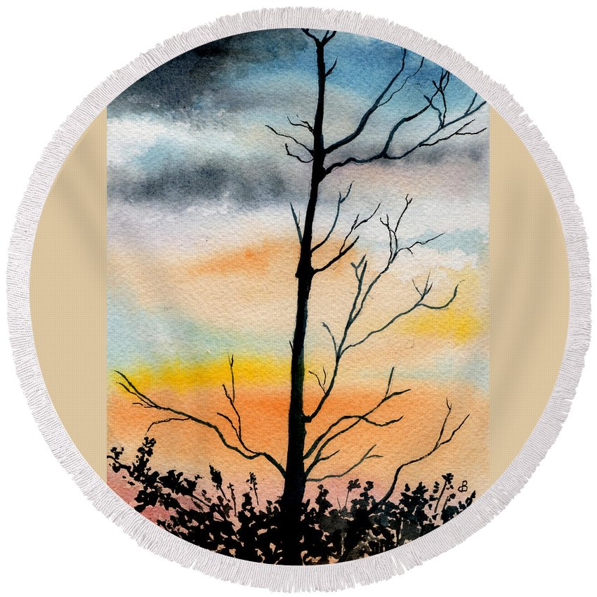 Watercolor Round Beach Towel featuring the painting Evening Comes by Brenda Owen