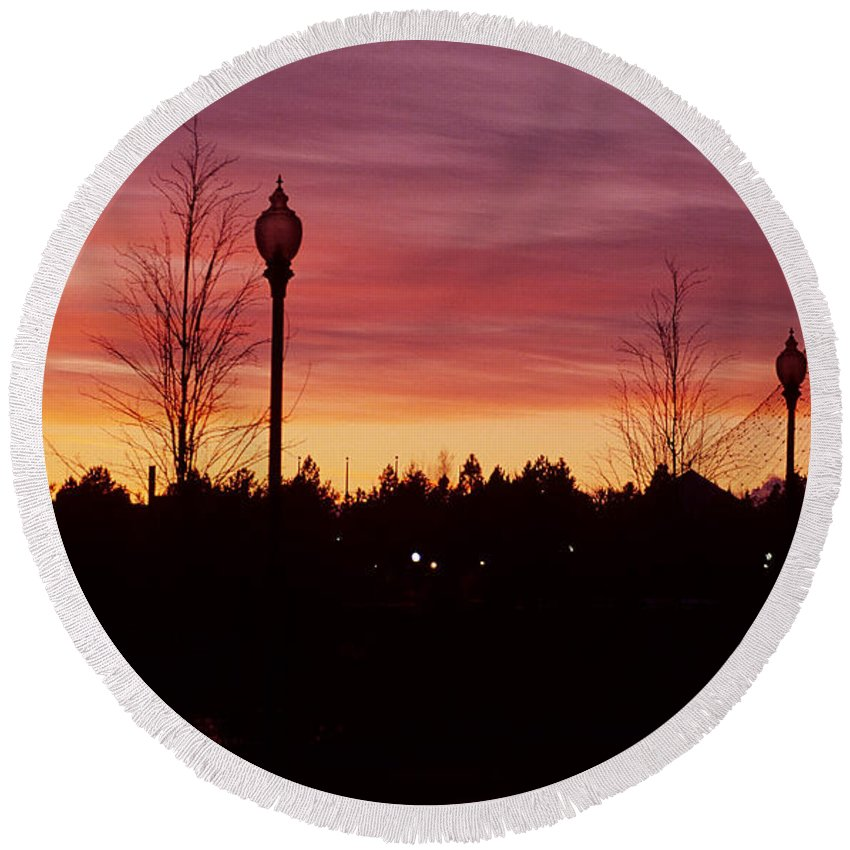 Spokane Round Beach Towel featuring the photograph Evening In Riverfront Park by Sharon Elliott