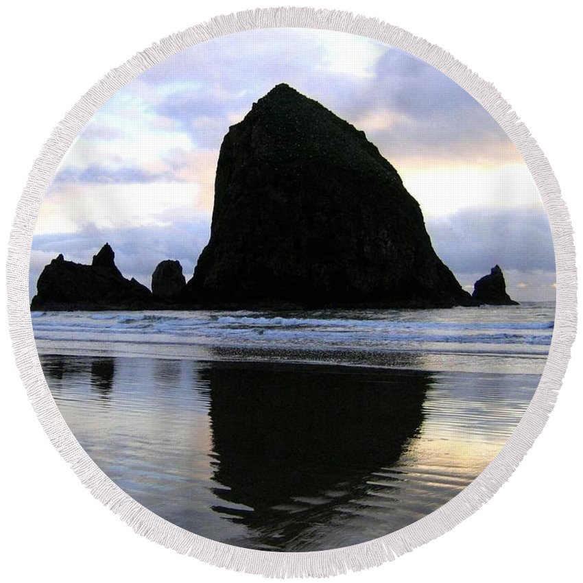 Haystack Rock Round Beach Towel featuring the photograph Evening Luster by Will Borden