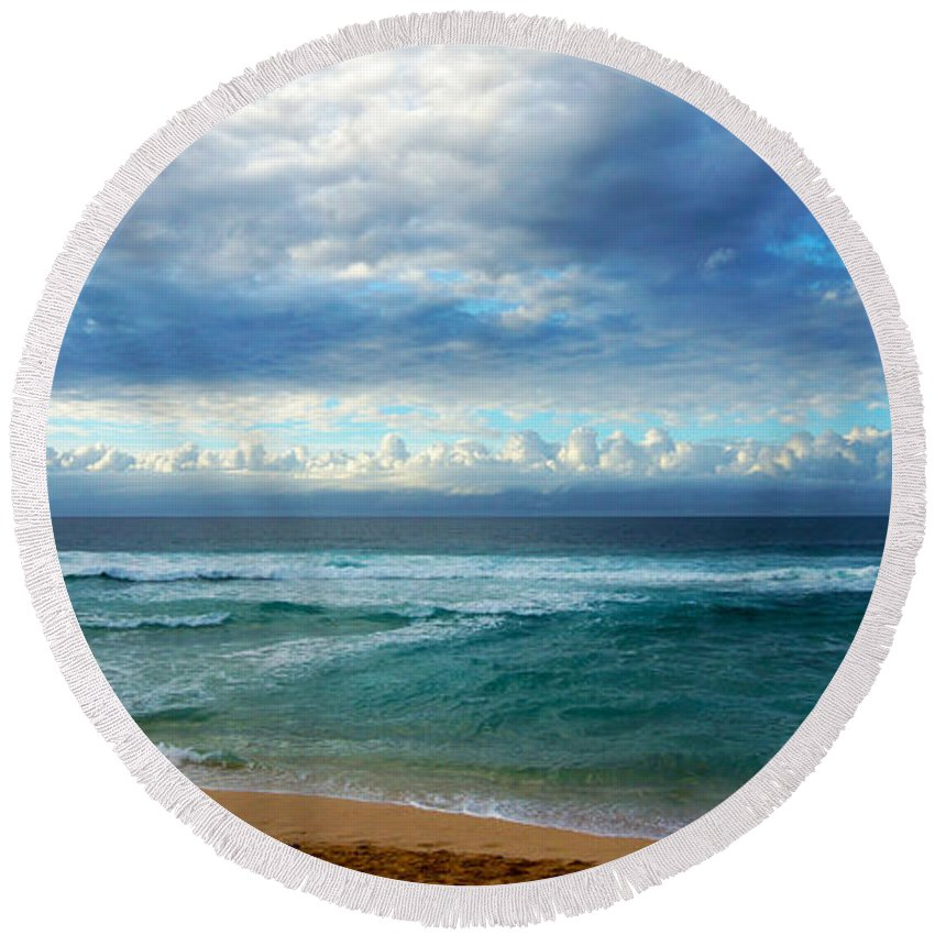 Hawaii Round Beach Towel featuring the photograph Evening North Shore Oahu Hawaii by Kevin Smith