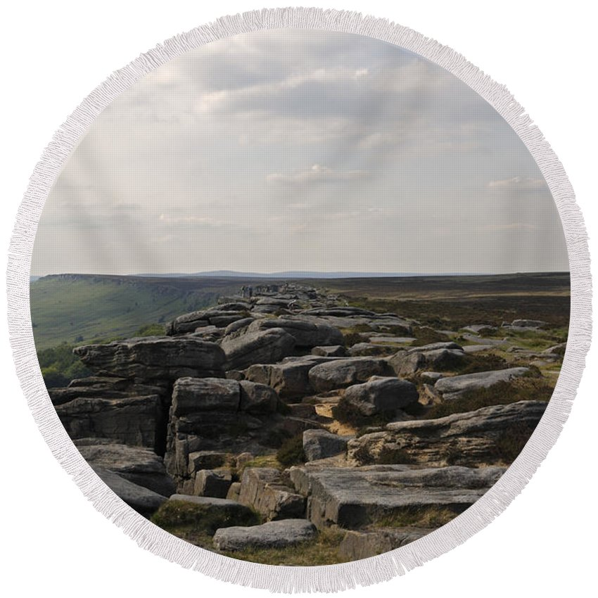 Landscape Round Beach Towel featuring the photograph Evening On Stanage Edge by Kevin Round