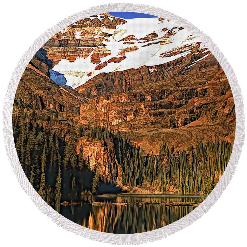 Lake O'hara Round Beach Towel featuring the photograph Evening On The Great Divide Painted by Steve Harrington