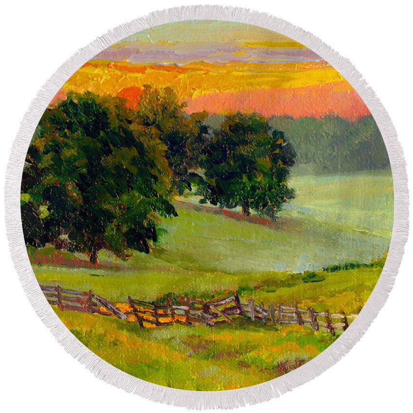 Impressionism Round Beach Towel featuring the painting Evening Pastures by Keith Burgess